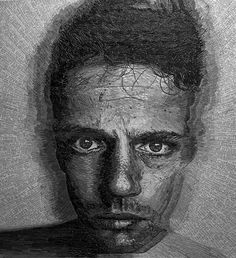 English artist Jamie Poole creates large scale portraits using strips of paper cut from poems and pieced together. For his latest project Jamie used love letters and poems that his wife wrote to him over the last two years to create this incredible self portrait.