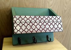 Handmade Wood Wall Mail Organizer with Key Hooks by WWRusticDesign