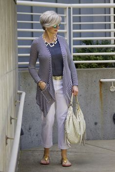 I think this would look more fashion forward with more fitted pants.  lilly pulitzer sandals from target and one of my favorite pair of pants (although far from glamorous) – chinos. a drapey cardigan keeps the chill at bay. add fun, chunky jewelr...