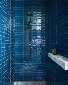 The blue bathroom! A bold gesture of colour saturates the bathrooms at our Elmore Residence - the central bathroom is a beautiful mixture…