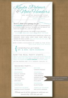 modern and fun wedding ceremony program, PRINTABLE. $26.00, via Etsy. #etsy #modern #program