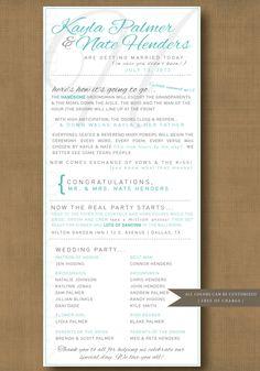funny+wedding+programs | modern and fun wedding ceremony program by xSimplyModernDesignx