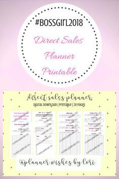 Direct Sales Planner  Digital Download  Printable  Social Media