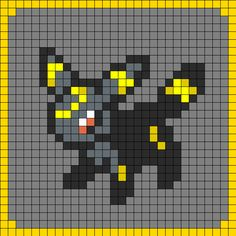 Easy perler bead pokemon patterns squirtle overworld for Umbreon pixel art template