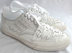 Comme Des Garcons Homme Plus White Leather Basket Weave Sneakers Shoes US 9 | eBay