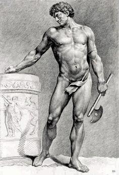 """""""Glgladiateur avec une hache"""".  Jean Jacques Francois Le Barbier,. Françe, 1738-1826,. pierre noire sur papier"""