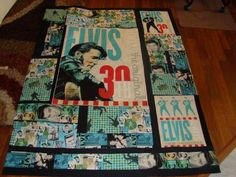 another Elvis quilt. Throw size. To be quilted. This is the front panel showing. Completed Quilt. $100.