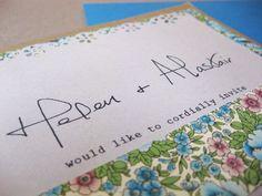 Handwritten vintage style wedding invitation. For bespoke wedding stationery, check out http://www.lovebirdbespoke.com/