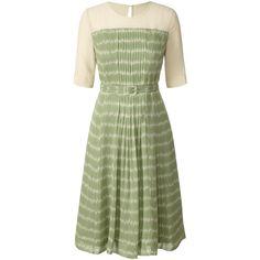 Orla Kiely Silk Georgette Garden Party Pleat Front Dress (220 CAD) ❤ liked on Polyvore featuring dresses, orla kiely, eau de nil, green print dress, pleated dress, mid length dresses, flower skater skirt e green circle skirt