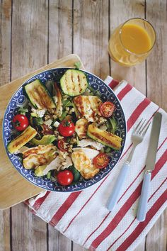 Chicken, haloumi and avocado grilled salad