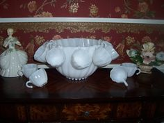 Milk White Glass Punch Bowl Set By Hazel Atlas Swirl Called Seashell With 11 Cups.