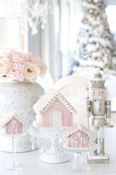 """My Pink Christmas Kitchen - Summer Adams My Pink Christmas Kitchen Today I'm sharing my pink Christmas kitchen in our """"Home For The Holidays Tour"""". It includes fresh roses, nutcrackers, gingerbread houses and lots of sugar! Gingerbread Christmas Decor, Cool Gingerbread Houses, Pink Christmas Decorations, Diy Party Decorations, Holiday Decor, Lollipop Decorations, Whimsical Christmas, Nutcracker Christmas, Adult Christmas Party"""