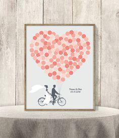 Hochzeit Gast Buch Alternative Poster DIY / / Coral Pink Ballon Herz, Paar auf Tandem-Fahrrad Wedding Zeichen druckbare PDF ▷ personalisierte Signieren
