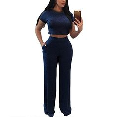 3d594e0ae6 Amazon.com  Women s Casual Two Piece Outfits Rib Knit Bodycon Crop Top and  Long Pants Set