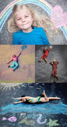posing with chalk drawings