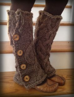 FABulous chunky cabled legwarmers with buttons by DaisyDoodles
