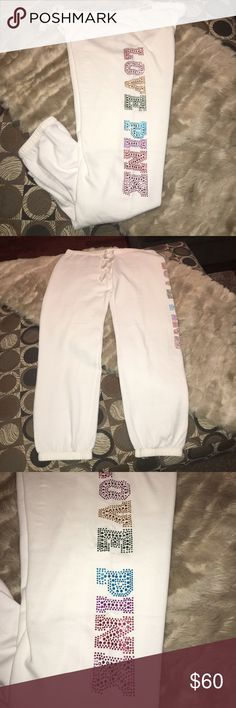 NWT LARGE VS PINK RAINBOW 🌈 SEQUIN CAMPUS PANTS Size large. Brand-new with tags. Perfect condition! PINK Victoria's Secret Pants Track Pants & Joggers