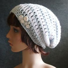 Newcastle Slouch in Ice Blue and White Stripes  Crochet by HiJinx, $22.00