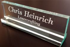 """Office Desk Name Plate 1/2"""" glass-like acrylic personalized / customized"""