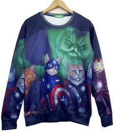Multi Long Sleeve 3D Cat Print Sweatshirt - Fashion Clothing, Latest Street Fashion At Abaday.com