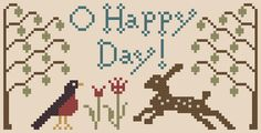 O Happy Day! Free Chart - March 2013- Heartstring Samplery