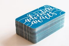 Draw & Explore Hand Lettered Letterpress Business Cards // letterpress printing by Darling Press
