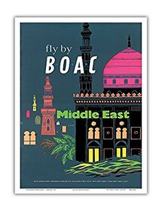 Middle East - British Overseas Airways Corporation Fly by BOAC - Vintage Airline Travel Poster c.1954 - Master Art Print - 13in x 19in