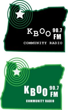 Logo design ideas for KBOO radio in Portland.