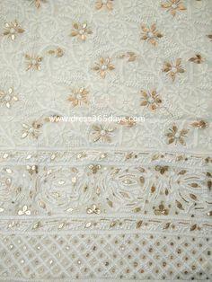 Off White Lucknowi Kurta Fabric with Gota Patti Work ( Kurta Only)
