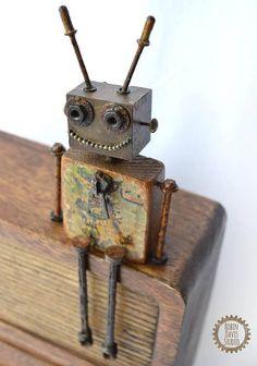 Letter J Robot Sculp