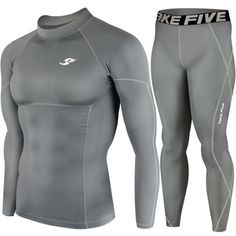 Mens Sports Compression Base Layer Skin Tights Long Sleeve Top  Pants Gray SET L >>> Check this awesome product by going to the link at the image.