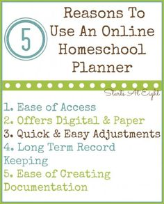 5 Reasons To Use An Online Homeschool Planner from Starts At Eight Types Of Education, Online College, Education College, Seventh Grade, Curriculum, How To Find Out, Teaching, How To Plan, Middle School