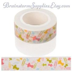 Decorative Washi Tape. One Full Size 10 m Roll of 15 mm Paper Tape in Adorable Office Theme. Cute Design with Thumb Tacks and Paper Clips. Great for Planners!