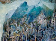 Robinson, William, Blue Pools Springbook, Springbook to Beechmont, 2000 Abstract Landscape Painting, Landscape Drawings, Landscape Art, Landscape Paintings, Australian Painting, Australian Artists, Contemporary Landscape, Blue Art, Artists Like