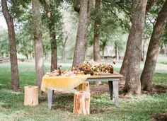 The table is set for our woodland #bridal soiree! --- THANK YOU to the fabulous team behind the shoot: @The Confetti Committee | @Loft Photographie | Joy Roy Vintage | @thepeachedtortilla | Michelle's Patisserie | @Bee Lavish | @Gypsy Floral and Events | FEATURED on @Green Wedding Shoes / Jen Campbell: http://greenweddingshoes.com/an-autumn-sunset-bridal-soiree/