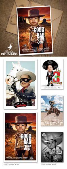 Cowboy Birthday custom poster designs