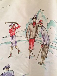 RALPH LAUREN VTG SCARF Golf Scene 100% Silk Large Square Exc Cond Made In  Italy b73d23bc470