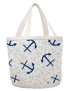 Happy Bottom Blue Anchor Large Bag: Beach House Decor, Coastal Living Boutique, Nautical, Seaside & Tropical Decor
