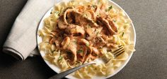 Beef Stroganoff - made with No Yolks wide noodles. I use canned mushroom pieces with the liquid.  Can use onion soup instead of sautéing onions and mushrooms.