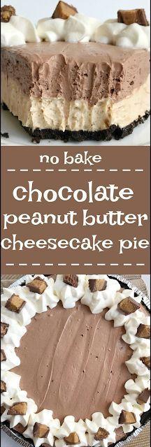 No Bake Chocolate Peanut Butter Cheesecake Pie  Dimar's Kitchen