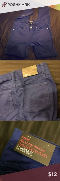 💕Forever 21 blue zipper denim skinny jeans 24/0 New with tags still on Forever 21 Jeans Skinny