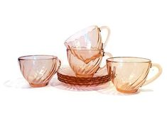 Vintage Pink Tea Cups Set of 4 French Arcoroc France Rosaline