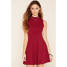 Forever 21 Women's  Mock Neck Skater Dress ($11) ❤ liked on Polyvore featuring dresses, skater dress, forever 21 dresses, mock neck skater dress, red dress and red skater dress