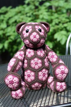 Brown Jointed Teddy Bear hand made out of pink merino african flower motives by Woolbunnies, €160.00
