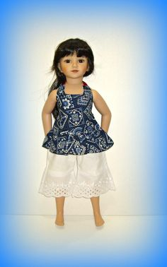 """Boardwalk Boutique Outfit for 20"""" Maru and Friends Doll, Dianna Effner Sculpt, Handmade Clothes in Blue Bandana and White Eyelet, Top & Pant by traveller240 on Etsy https://www.etsy.com/listing/449550638/boardwalk-boutique-outfit-for-20-maru"""