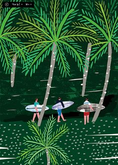 palm trees, surfing, a tropical forest print by yebin design Forest Illustration, Digital Illustration, Graphic Illustration, City Poster, Surf Art, Illustrations And Posters, Silkscreen, Bunt, Graffiti