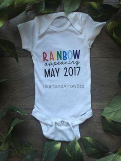 Rainbow Baby Announcement Bodysuit/Maternity Photography Prop by HeartandArrowBtq on Etsy