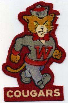 1950s Washington State University Cougars Felt Patch Football Pullman Wazzu