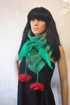 Felted scarf-Felted women stole-Felted baktus by YuliasFeltworld