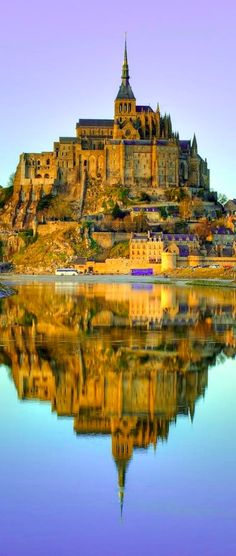 Mont-Saint Michel at dusk in Normandy, France